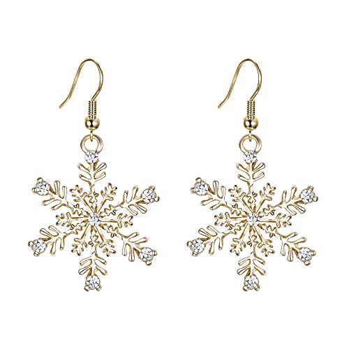 EVER FAITH Gold-Tone Austrian Crystal Winter Party Snowflake Pierced Hook Dangle Earrings Clear