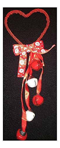 Valentines Day Decor Door Knob Hanger Glitter Heart Shaped W/5 Jingle Bells Bow (red)