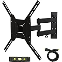 Atron Vision TV Monitor Full Motion Wall Mount for most 17 - 55 LED LCD Plasma Flat Screen Up To 77 lbs VESA 400 x 400 Full motion Tilt Swivel Bracket with HDMI and Bubble Level