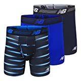 "New Balance Men's 6"" Boxer Brief Fly Front with Pouch, 3-Pack, Pigment/Team Royal/Bolt Flare, Large"