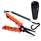 RUNCL Fishing Pliers S1, Needle Nose Pliers - Braid Cutter, Hook Remover, Split Ring Opener, Weights Crimper, Bait/Weight Tuner, Fish Gripper - Kayak Fishing Ice Fishing Saltwater&Freshwater (Orange)