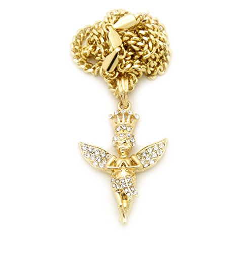 (Gold Tone Micro Crown Baby Angel Cherub Pendant 24