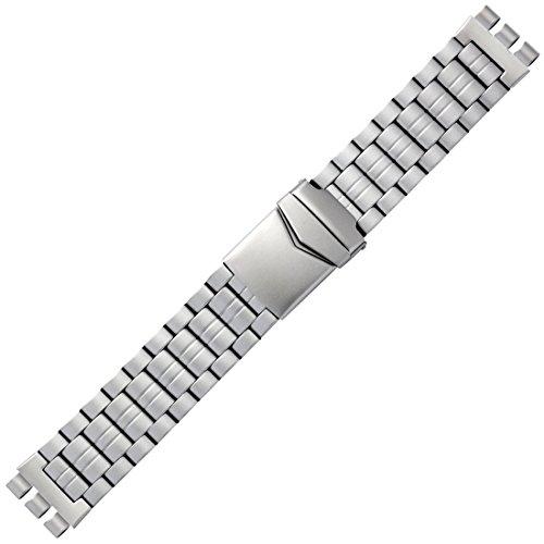 Uhrenarmband 20 mm Edelstahl silber matt, Swatch-Anstoß - Bandoberfläche satiniert sandgestrahlt - passend für SWATCH Armbanduhren - Ersatzarmband mit Faltschließe - Marburger Sports Gliederarmband