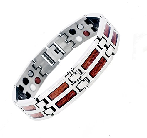 Mens Titanium Silver Tone Link Chain Extra Strong Magnetic Bracelet (Wood Inlay)