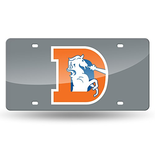 Rico Industries NFL Denver Broncos Retro Laser Inlaid Metal License Plate Tag, Silver