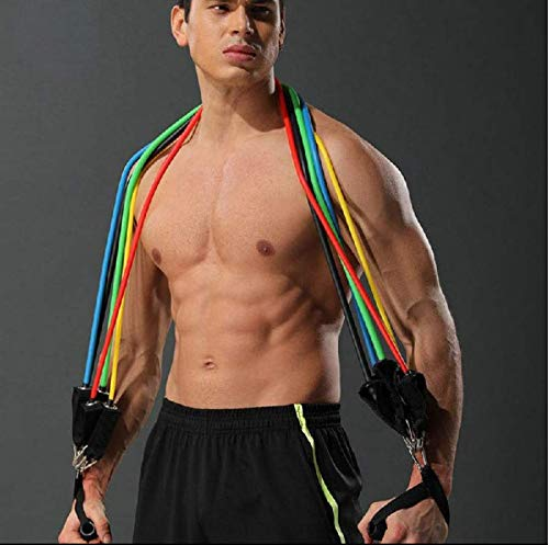 11-Piece-Resistance-Band-Set-Ideal-for-Home-Workout-Indoors-and-Outdoors-Keep-Fit-With-5-Different-Strengths-Including-Foam-Handles-and-Ankle-Strap