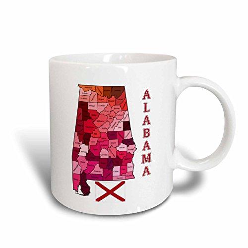 3dRose 171846_1 Map And Flag Of The State Of Alabama Shows Each County Ceramic Mug, 11 oz, White
