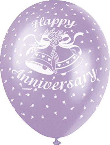 Unique Party 30,5/cm Perlglanzeffekt Latex Ballons Happy Anniversary Sortiert 5/St/ück