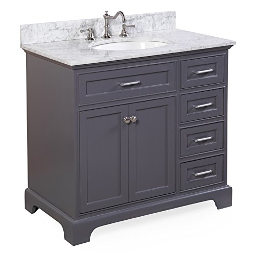 Aria 36″ Bathroom Vanity (Carrara/Charcoal Gray) Review