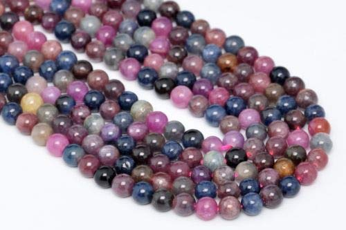 4mm Genuine Natural Ruby Sapphire Gemstone Beads Grade Round Loose Beads 16'' Crafting Key Chain Bracelet Necklace Jewelry Accessories Pendants (Mlb Genuine Necklace)
