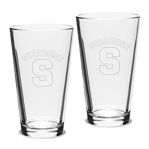 (NCAA Syracuse Orange Adult Set of 2 - 16 oz Pub Mixing Glasses Deep Etch Engraved, One Size, Clear)