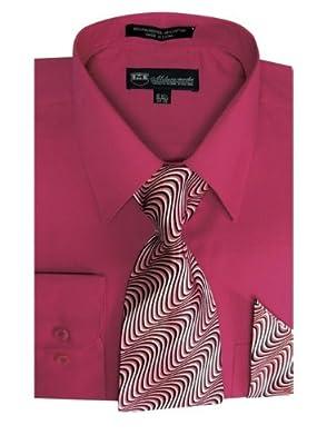 Milano Moda Men's Long Sleeve Dress Shirt With Matching Tie And Handkerchief