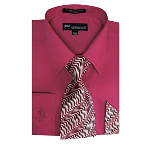 Milano Moda Men's Long Sleeve Dress Shirt With Matching Tie And Handkerchief SG21A