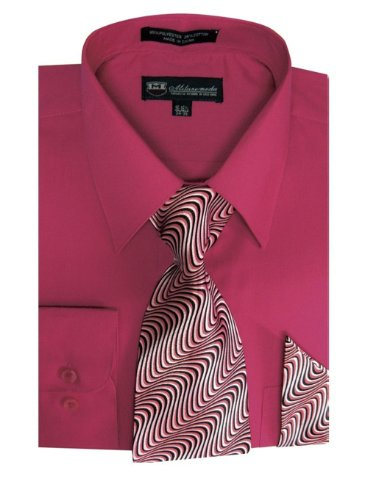 TDC Collection Men's Basic Dress Shirt With Matching Tie And Handkerchief 20-20 1/2 36-37 - Collection Shirt Mens