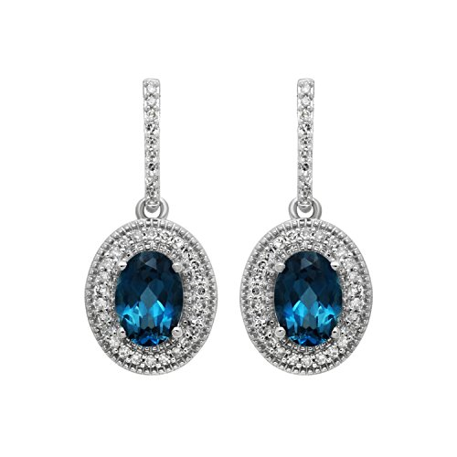 Jewelili Sterling Silver London Blue Topaz And Created White Sapphire Round Cushion Framed (Blue Topaz Cushion Earrings)