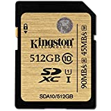 Kingston SDA10/512GB 512 GB SDXC Class 10 UHS-I 90R/45W Flash Memory, Black