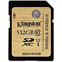 Kingston Technology SDXC Class 10 UHS-I 90 Read 45 Write Flash Card (SDA10/512GB)