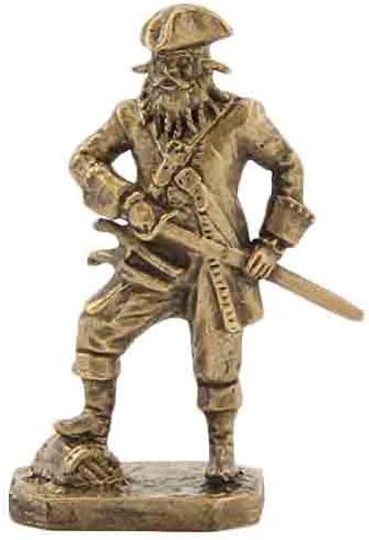 CTOC Native American with an ax and shield Bronze Statuette Native of South America series Handmade military historical miniature 40 mm Collection figurine metal toy Soldier pub39