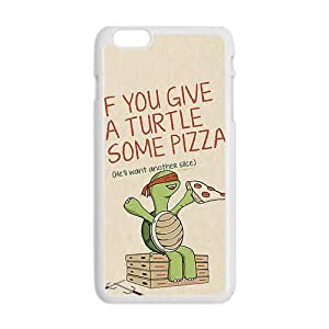 Cartoon Turtle With Pizza White iPhone plus 6 case