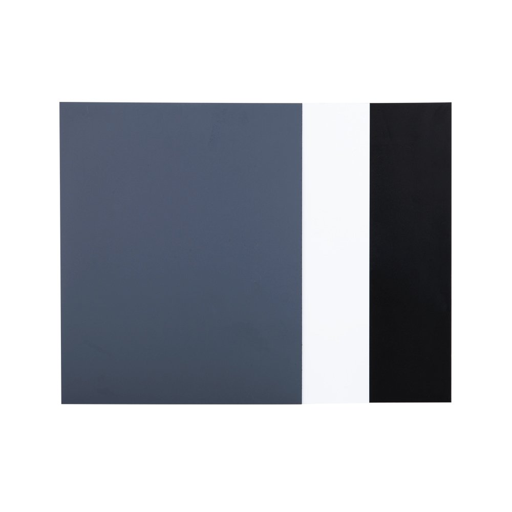 JJC 10'' x 8'' PVC White Balance Card Set for Achieving Perfect Color Balance in Your Photos - Including an 18% Neutral Grey Card, a White Card and a Black Card by JJC