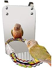 Haokaini Ptak lustro zabawka z liną okonia papuga gryzienie zabawka z dużym lustrzanym pazurem papuga klatka dla ptaków okoń lustro żucie zabawka dla budżetu papugi kokatielów miłosnych