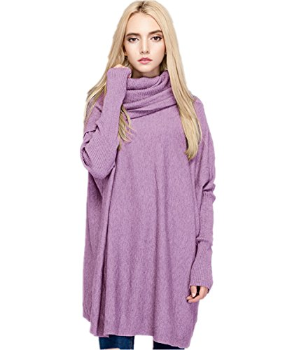 - Meow Meow Lace MML Womens Turtleneck Long Sleeve Loose Knit Top Cable Pullover Sweaters (One Size, Purple)