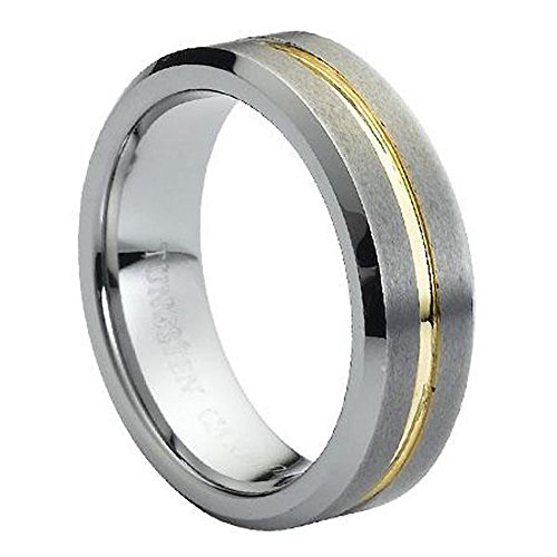 7mm Beveled Edge Two Toned Grooved Center Gold Plated Tungsten Carbide Wedding Band - Size 11.5