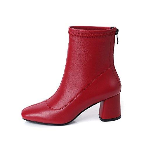 b7f4825e Nine Seven Cuero Moda Puntera Cuadrada Botines de Tacón de Grueso con  Cremallera de Vestir para Mujer (38, rojo): Amazon.es: Zapatos y  complementos