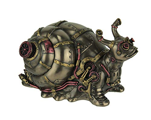 Veronese Design Highly Detailed Steampunk Land Snail Trinket Box