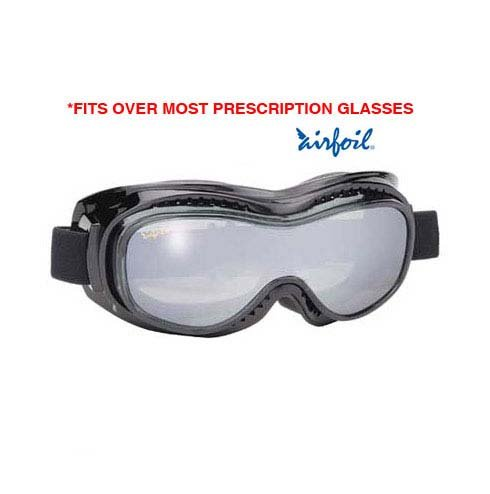 Airfoil Black Goggles With Anti Fog Smoke Silver Mirror Polycarbonate Lens With - One Size