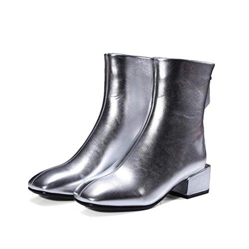 Donna silver Stivali Retro Taglia Short Donne Codice Stivali Heel 42 32 Quadrato Mid Testa Donne QPYC Tube Martin FUq7gUw