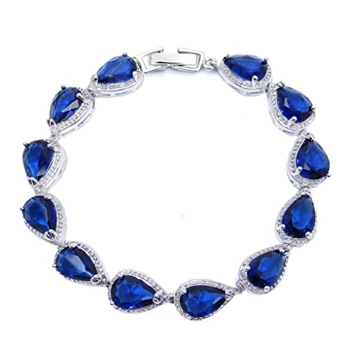 SELOVO Sapphire Color Dark Navy Blue Stone Teardrop Link Tennis Bracelet for Women Silver Tone - Dark Link Costumes