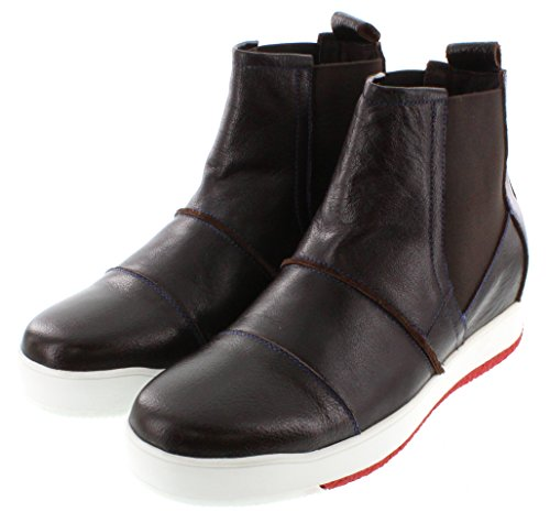 Calto G71805-2.8 Inches Taller - Hoogte Toenemende Liftschoenen (bruine High-top Slip-on Sneakers)
