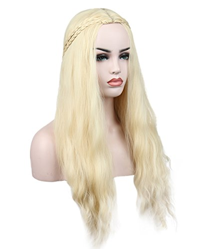 Price comparison product image Kalyss Women's Synthetic Hair Wig Long Wavy Curly Blonde Cosplay Costume Full Hair Wigs for Game of Thrones Daenerys Targaryen khaleesi 24 inches (blonde 1)