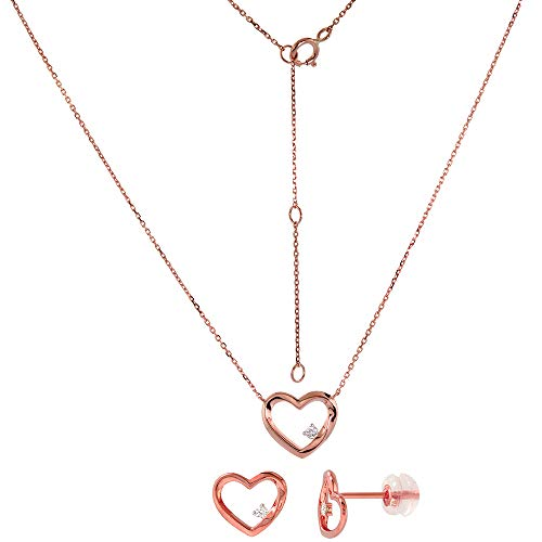 Earrings Open Diamond Heart (Dainty 14k Rose Gold Diamond Open Heart Earrings and Necklace Set 0.1 cttw)