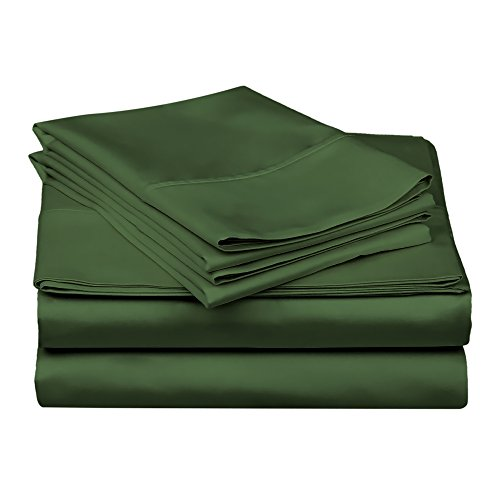 Superior 100% Premium Combed Cotton, 300 Thread Count 4-Piece Bed Sheet Set, Single Ply Cotton, Deep Pocket Fitted Sheets, Soft and Luxurious Bedding Sets - Queen, Hunter Green