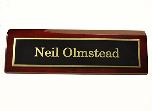 Rosewood Piano Finish Desk Name Plate 2 X 8 - Black Plate, Gold Engraving - Free Engraving