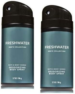 Bath and Body Works Men's Collection Freshwater Deodorizing Body Spray 3.7 Oz. 2 Set.