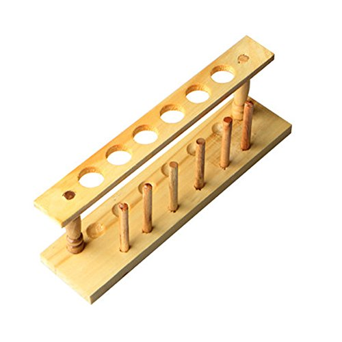 [BIPEE Wooden Test Tube Rack, 21mm Diameter Hole and Pins-Solid Wood, 10.24'' Long, 3.35'' Tall, 2.56'' Width(6 Holes)] (Uses Test Tube Rack)