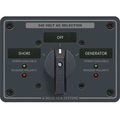 - 1 - Blue Sea 8363 AC Rotary Switch Panel 65 Ampere 2 Positions + OFF, 3 Pole