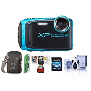 Fujifilm FinePix XP120 16.4MP Digital Camera, 5x Optical Zoom Sky Blue - Bundle 16GB SDHC Card, Camera Case, Cleaning Kit, Card Reader, Mac Software Package