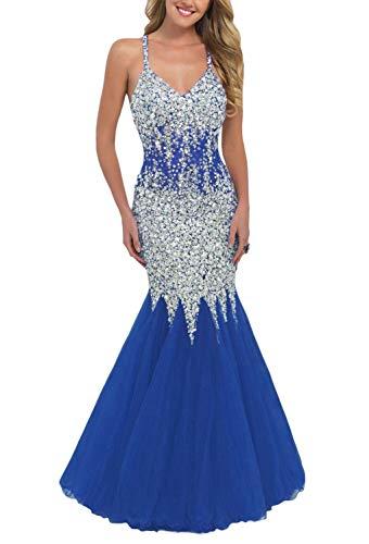 Yisha Bello Women's Luxury Crystal Beaded Mermaid Evening Prom Dresses Spaghetti Straps Formal Praty Gowns 10