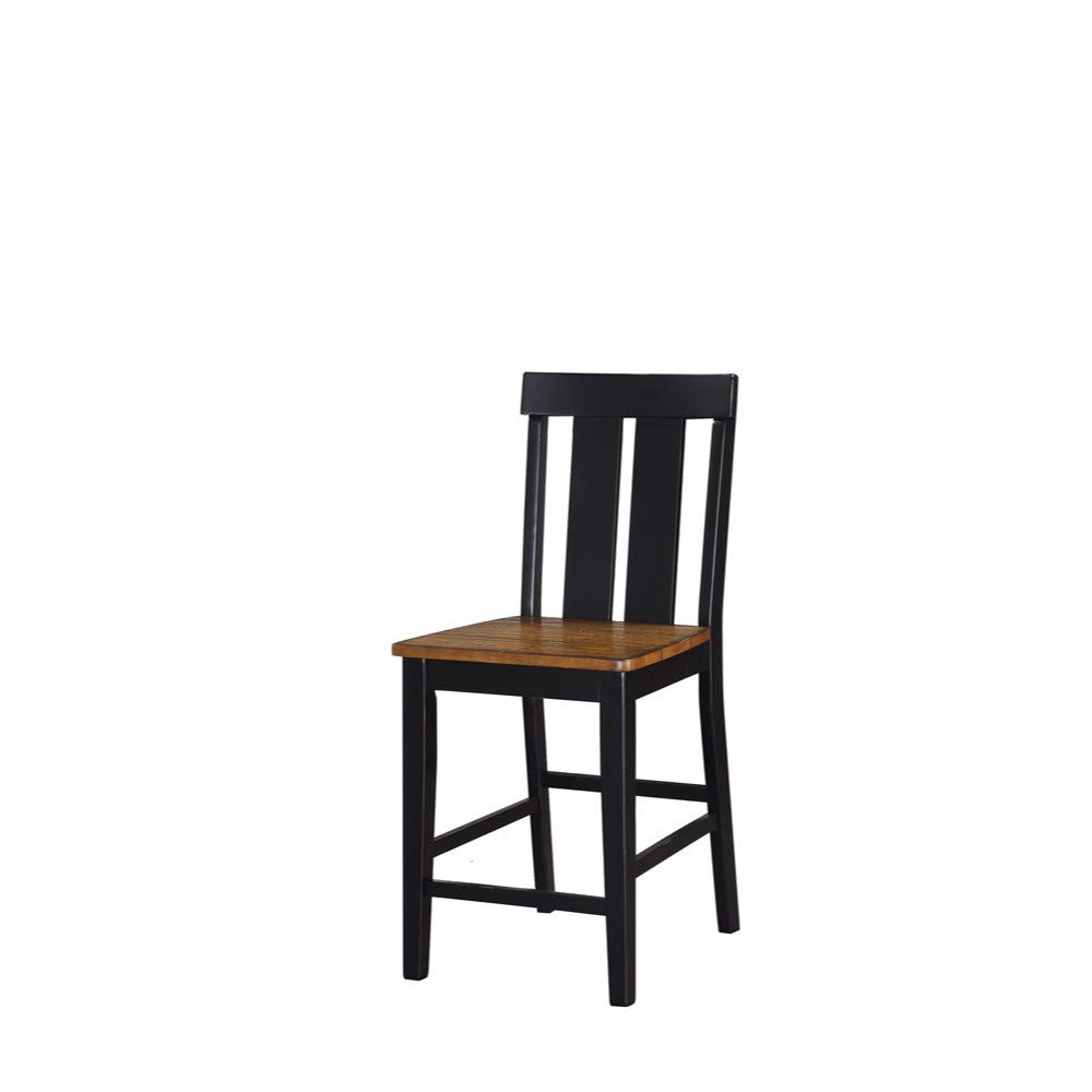 Amazon com benzara bm166625 rubber wood high chair set of 2 black brown kitchen dining