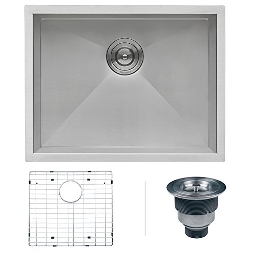 Ruvati 23-inch Undermount 16 Gauge Zero Radius Kitchen Sink Stainless Steel Single Bowl - RVH7100 (Undermount 26 Sink Kitchen)