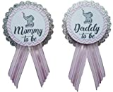 Mommy to Be & Daddy to Be Pin Elephant Silver Glitter Baby Shower Pin for parents to wear, Pink & Gray, It's a Girl Baby Sprinkle