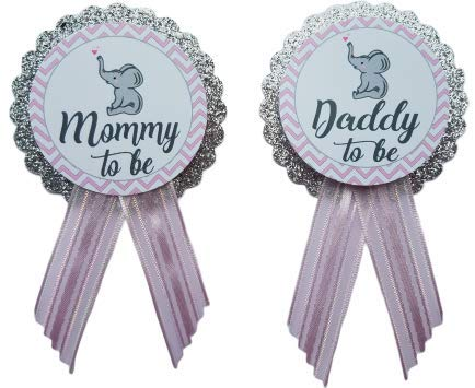 Mommy to Be amp Daddy to Be Pin Elephant Silver Glitter Baby Shower Pin for parents to wear Pink amp Gray It#039s a Girl Baby Sprinkle
