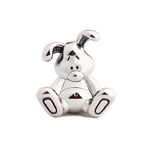 NEW - Rabbit Bunny Sterling Silver Charm Bead S925, Aurora Cute Honey Bunny Love Charm Bead Pendant, Romantic Love Rabbit Charm, Silver Animal Charm Jewelry, Pandora compatible
