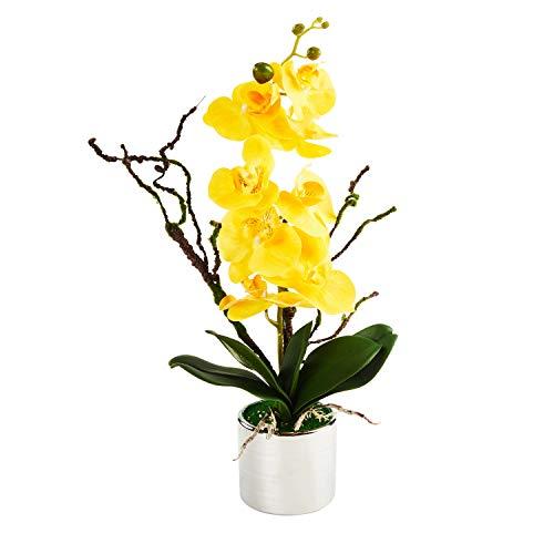 Orchid Metal - LOUHO Phaleanopsis Arrangement with Vase Decorative Artificial Orchid Flower Bonsai (Orange)