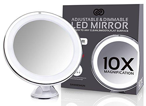Sanheshun 10-fach Vergrößerung LED Reise Make-Up Spiegel Kosmetikspiegel, Rund