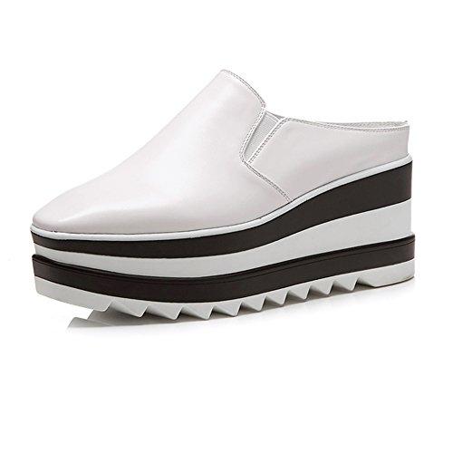 Zapatos Con Plataforma Mujeres WSXY-L0611 Banda Elástica Punta Cuadrada Sandalias Mujer Zapatilla Chanclas De Moda Confort Tacón Zapatos Para Caminar ,KJJDE White